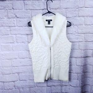 White house black market sweater vest small cream